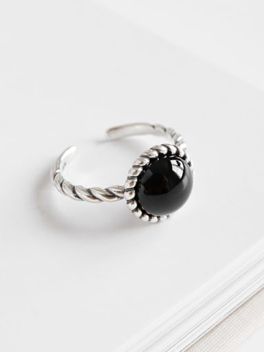 925 Sterling Silver With black Carnelian Vintage Round Solitaire Rings