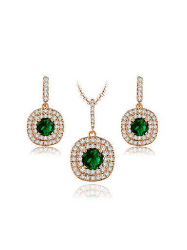 All-match Rose Gold Plated Square Shaped AAA Zircon Two Pieces Jewelry Set