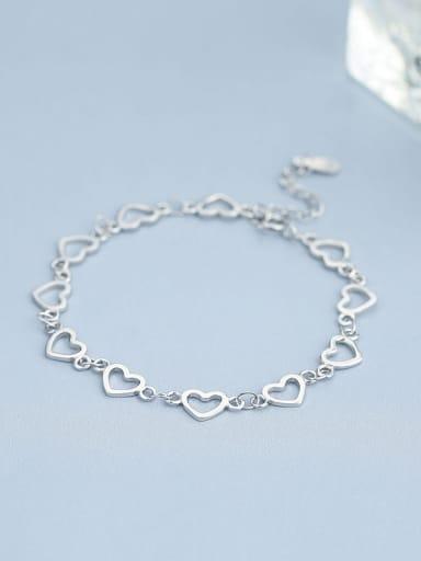 Fashion 925 Silver Heart Shaped Bracelet