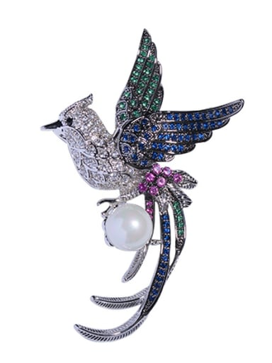 Copper With Cubic Zirconia Classic Animal Phoenix Brooches