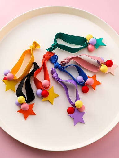 Rubber band  With Simple colored ball head Hair accessories