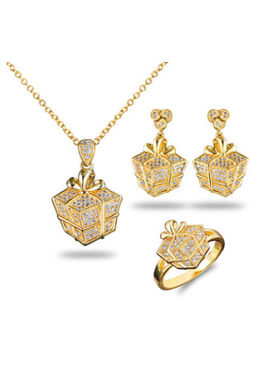 Luxury 18K Gold Plated Box Shaped Three Pieces Jewelry Set