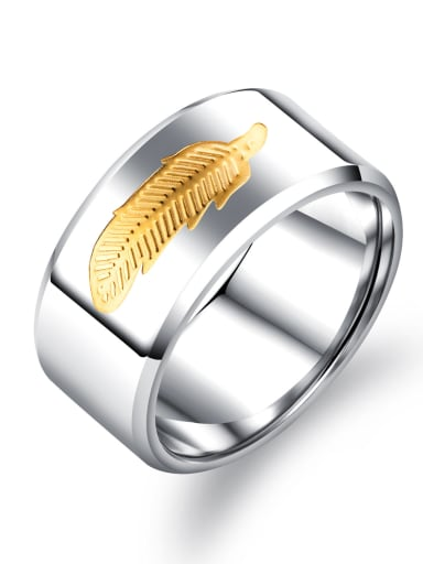 Stainless Steel With White Gold Plated Simplistic Feather Men Rings