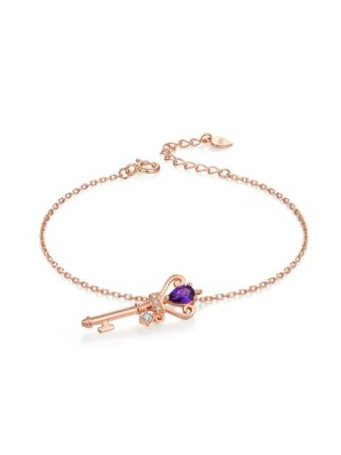 Key-shape Natural Amethyst Rose Gold Plated Bracelet