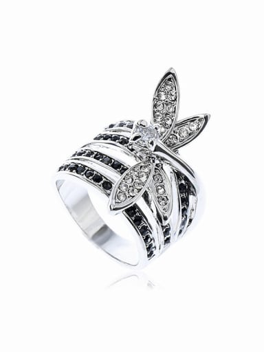 Fashion White Rhinestone-covered Dragonfly Alloy Ring