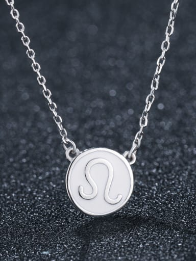 925 Sterling Silver With Platinum Plated Simplistic  Smooth Round Necklaces