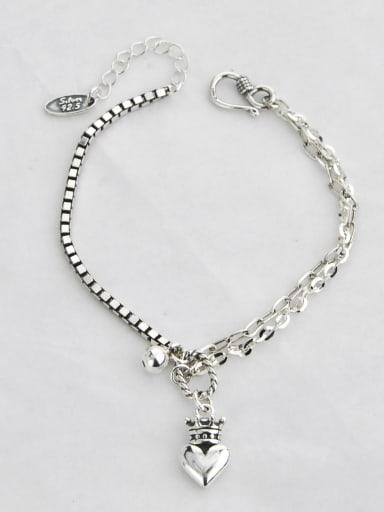 Vintage Sterling Silver With Antique Silver Plated Vintage Heart Bracelets