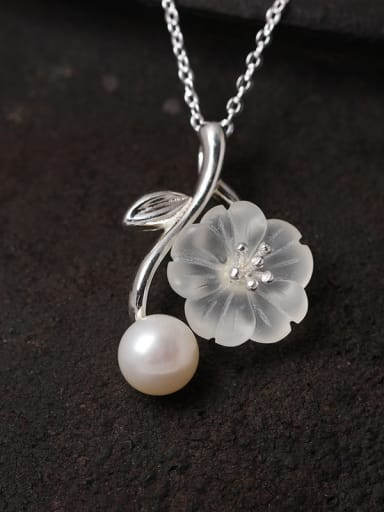 S925 Silver Crystal  Flower Pendant Necklace