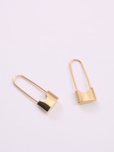 Titanium With Gold Plated Simplistic Pin Clip On Earrings