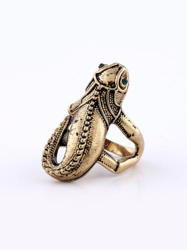 Punk style Antique Gold Plated Lizard Alloy Ring