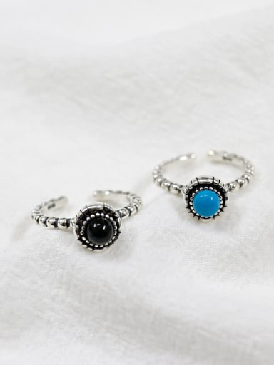 925 Sterling Silver With Antique Silver Plated Vintage Round Turquoise Rings