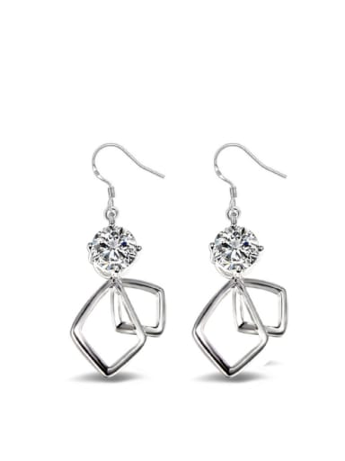 Double Hollow Square Shaped Fashionable Drop Earrings