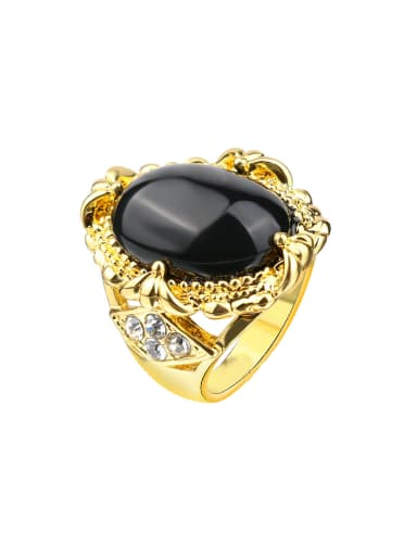 Gold Plated Black Resin stone Retro Alloy Ring