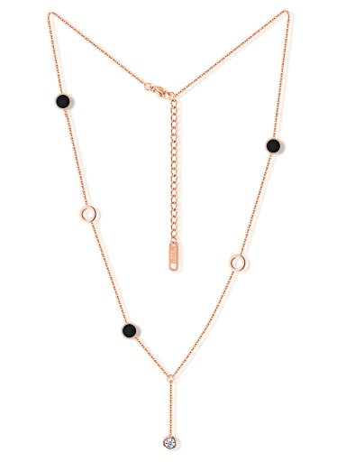 Fashion Black Rounds Zircon Rose Gold Plated Necklace