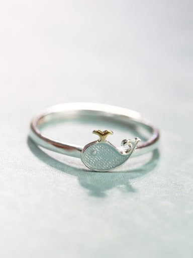 Simple Tiny Dolphin 925 Silver Women Ring