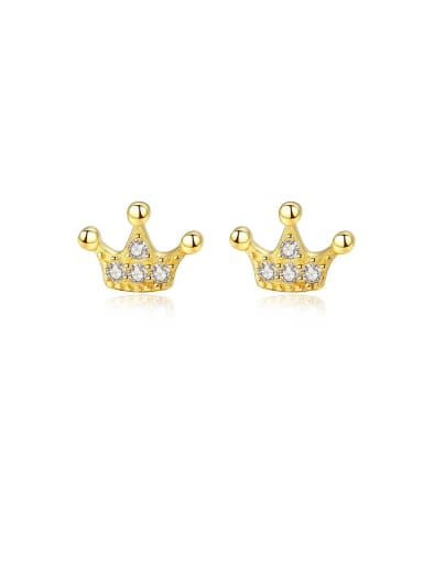 925 Sterling Silver With  Cubic Zirconia Simplistic Crown Stud Earrings