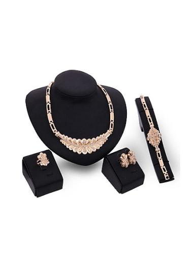 2018 2018 2018 Alloy Imitation-gold Plated Fashion Rhinestones Four Pieces Jewelry Set
