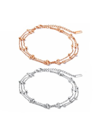 Stainless Steel With Rose Gold Plated Personality Charm Anklets