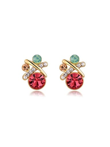 Colorful Austria Crystal Round Shaped Stud Earrings