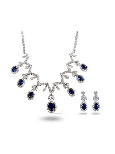 Noble Blue Water Drop Shaped Zircon Two Pieces Jewelry Set