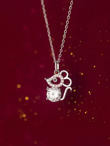 925 Sterling Silver With Platinum Plated Cute Mouse Pendant Necklaces