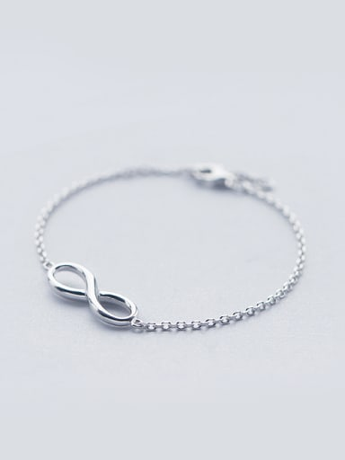 S925 Silver Simple Elegant Smooth 8 Figure Shape Bracelet