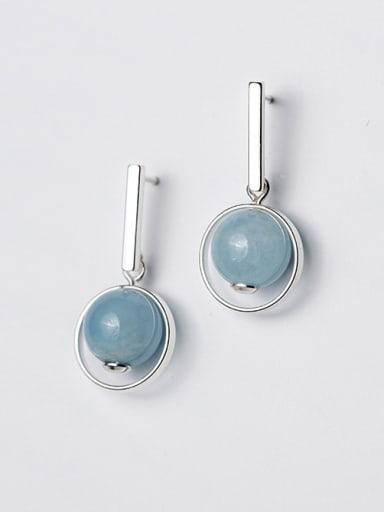 Elegant Blue Round Shaped Crystal Drop Earrings
