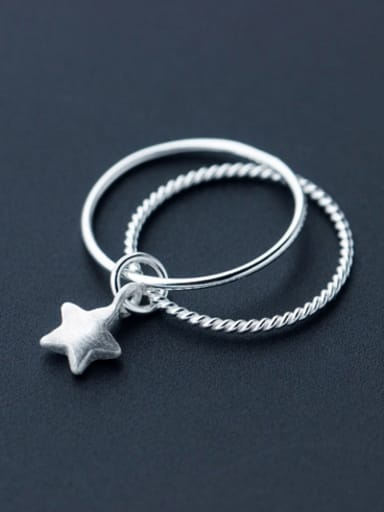 Exquisite Double Layer Design Star Shaped S925 Silver Ring