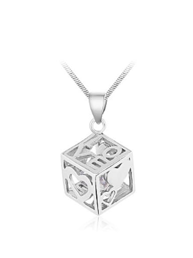 Hollow Cube LOVE Zircon Pendant
