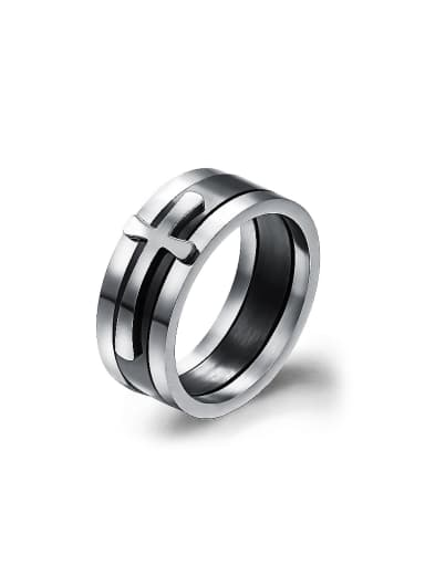 Fashion Cross Titanium Three-in-one Ring