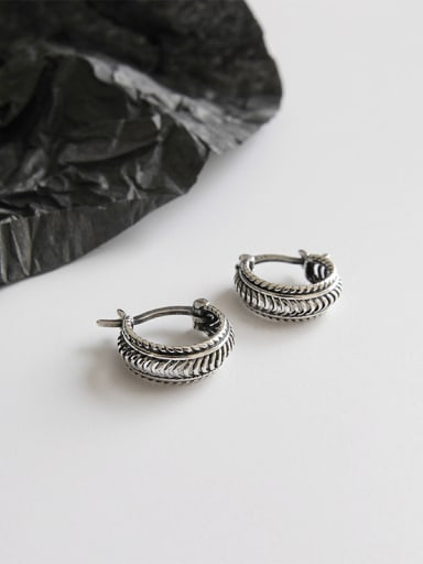 Sterling silver retro twist earrings