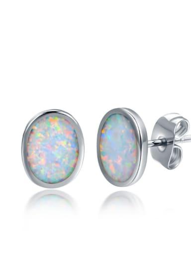 Fashion Simple Oval Shaped White Blue Opal Stud Earrings