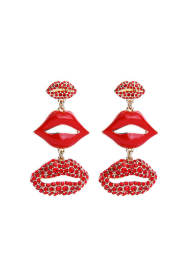 Lips'shape Red Color drop earring