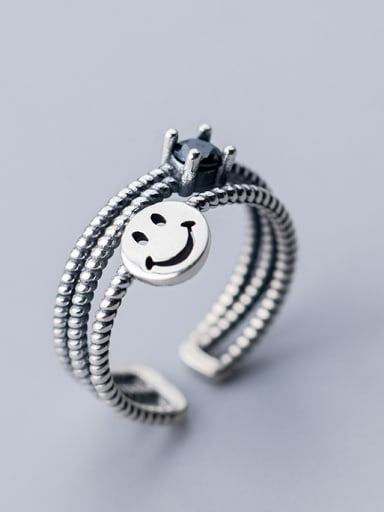 925 Sterling Silver With Antique Silver Plated Cute smile Face Rings