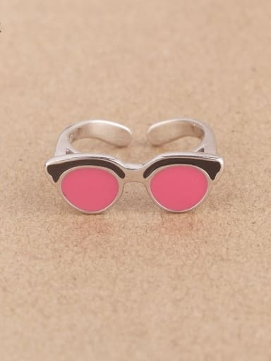 Creative Glasses Silver Opening Ring