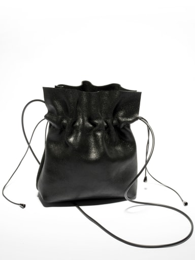 Fashion Drawstring Fisherman's Bag Black Leather Bucket Bag