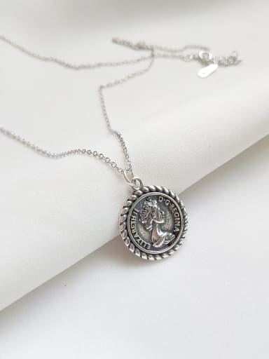 Pure silver retro Elizabeth Coin Necklace