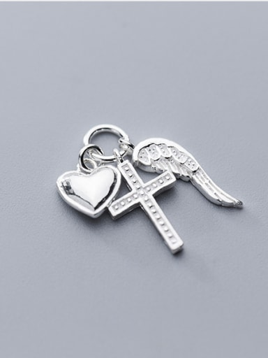 925 Sterling Silver With Silver Plated Personality Cross heart Charms