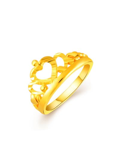 High Quality Crown Shaped 24K Gold Plated Copper Ring