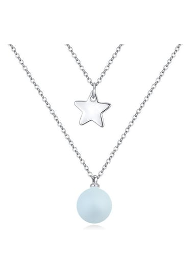 Personalized Imitation Pearl Little Star Double Layer Alloy Necklace