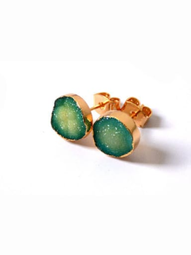 Tiny Natural Crystal Round Gold Plated Stud Earrings