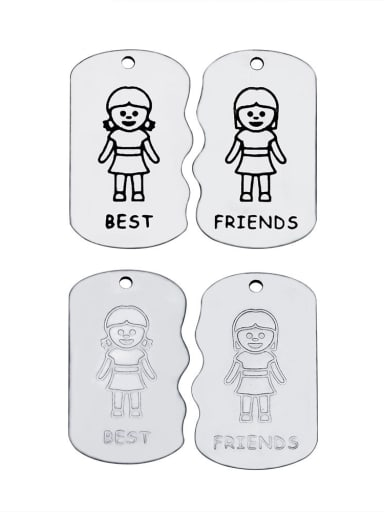 Stainless Steel With Lady Irregular With best friends words Charms