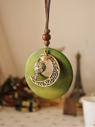 Wooden Round Shaped Moon Necklace