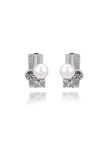 Exquisite Geometric Shaped Artificial Pearl Clip On Earrings
