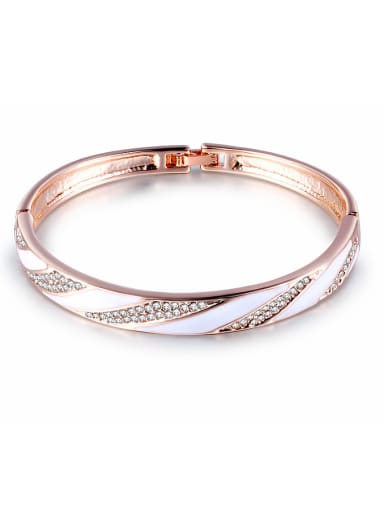Delicate Rose Gold Plated Crystal Enamel Bangle