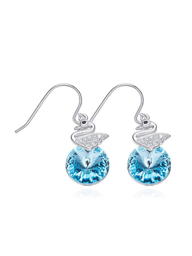 Fashion Little Zirconias-studded Swan Blue Swarovski Crystal 925 Silver Earrings