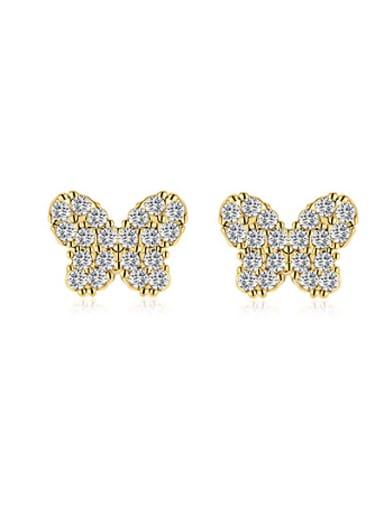 18K Gold Butterfly Shaped Zircon stud Earring