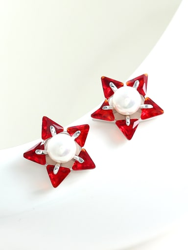Simple Triangle Zirconias Artificial Pearl Star Stud Earrings