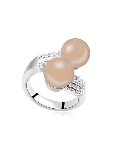 Exaggerated Imitation Pearls Crystals Alloy Ring