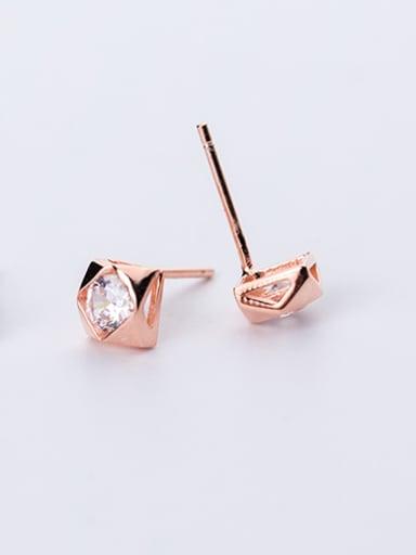 Lovely Rose Gold Platd Geometric Shaped Rhinestone Stud Earrings